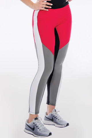 Women's Rachel Color Block Legging - Black Red