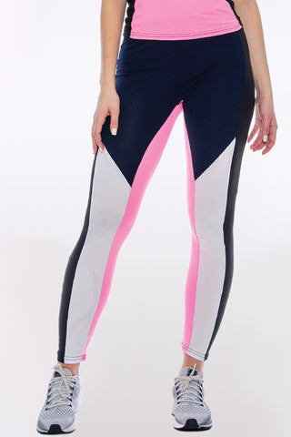 Women's Rachel Color Block Legging - Blue Pink