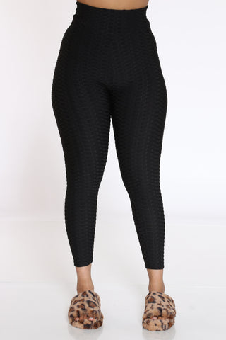 Women's Rouched Active Legging - Black-VIM.COM