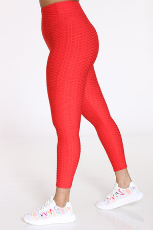 Women's Rouched Active Legging - Red-VIM.COM