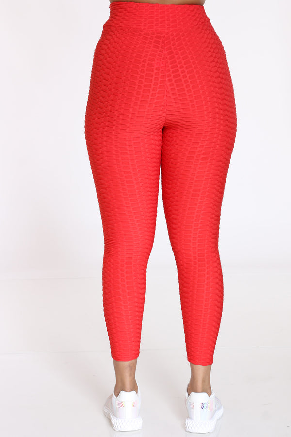 Women's Rouched Active Legging - Red