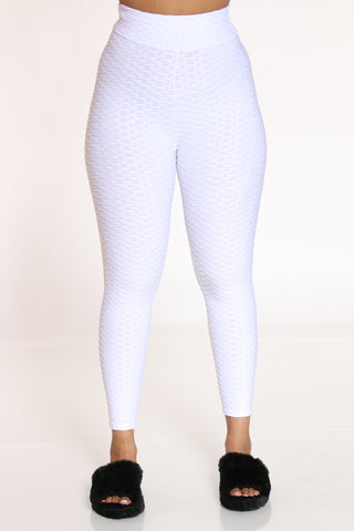 Women's Rouched Active Legging - White-VIM.COM