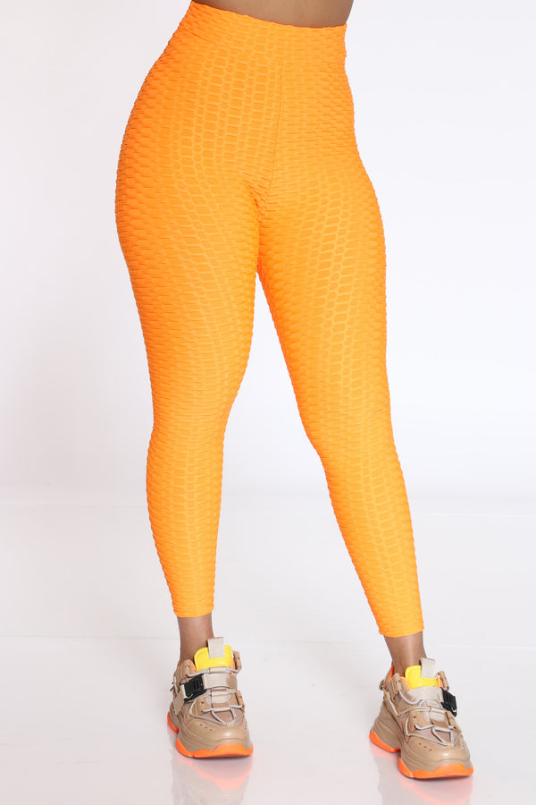 Women's Rouched Active Legging - Orange-VIM.COM