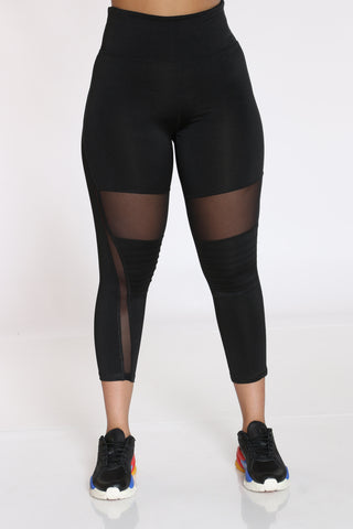 Women's Moto Active Legging - Black-VIM.COM