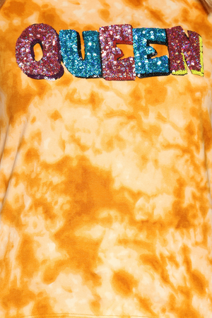 Women's Queen Tie Dye Hooded Tee - Orange