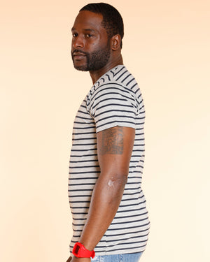 VIM Striped Crew Neck Tee - Grey - Vim.com