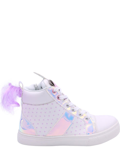Olivia Miller Girl'S Unicorn Hologram Trims High Top Sneakers (Pre School/Grade School) - White - Vim.com