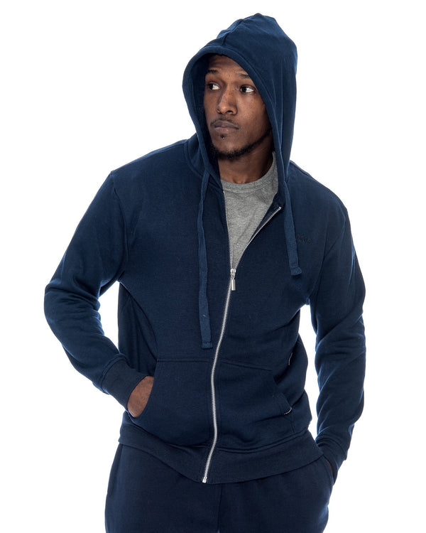 VIM Basic Hoodie Fleece Fabric Sweatshirt - Navy - Vim.com