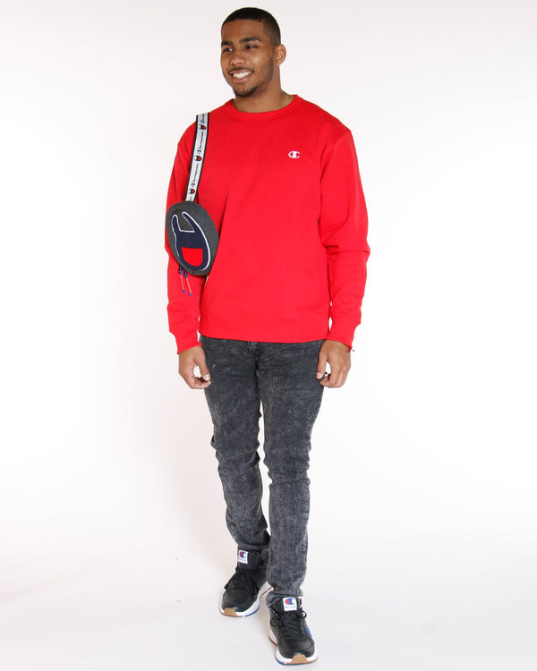 CHAMPION Champion Power Blend Fleece Crew - Red White - Vim.com