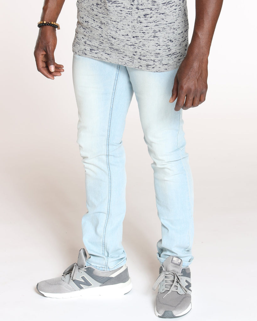 VIM Embroidered Pocket Scratched Jean - Sky Blue - Vim.com