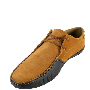 Joy Foot Men'S  Lace Up Mock Toe Driving Loafer - Tan - Vim.com
