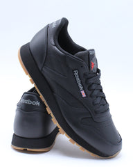 Mens Classic Leather Gum Sneaker - Black