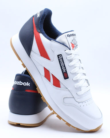 Men's Classic Leather Mu Sneaker - White Navy Red