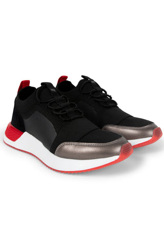 SNKR PROJECT-Men's Madison Sneaker - Black Red-VIM.COM