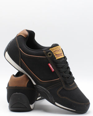 LEVI'S-Men's Flag Waxed Sneaker - Black Tan-VIM.COM