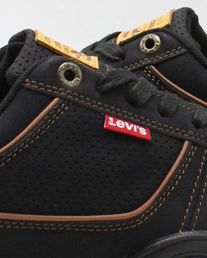 LEVI'S Men'S Flag Waxed Sneaker - Black Tan - Vim.com
