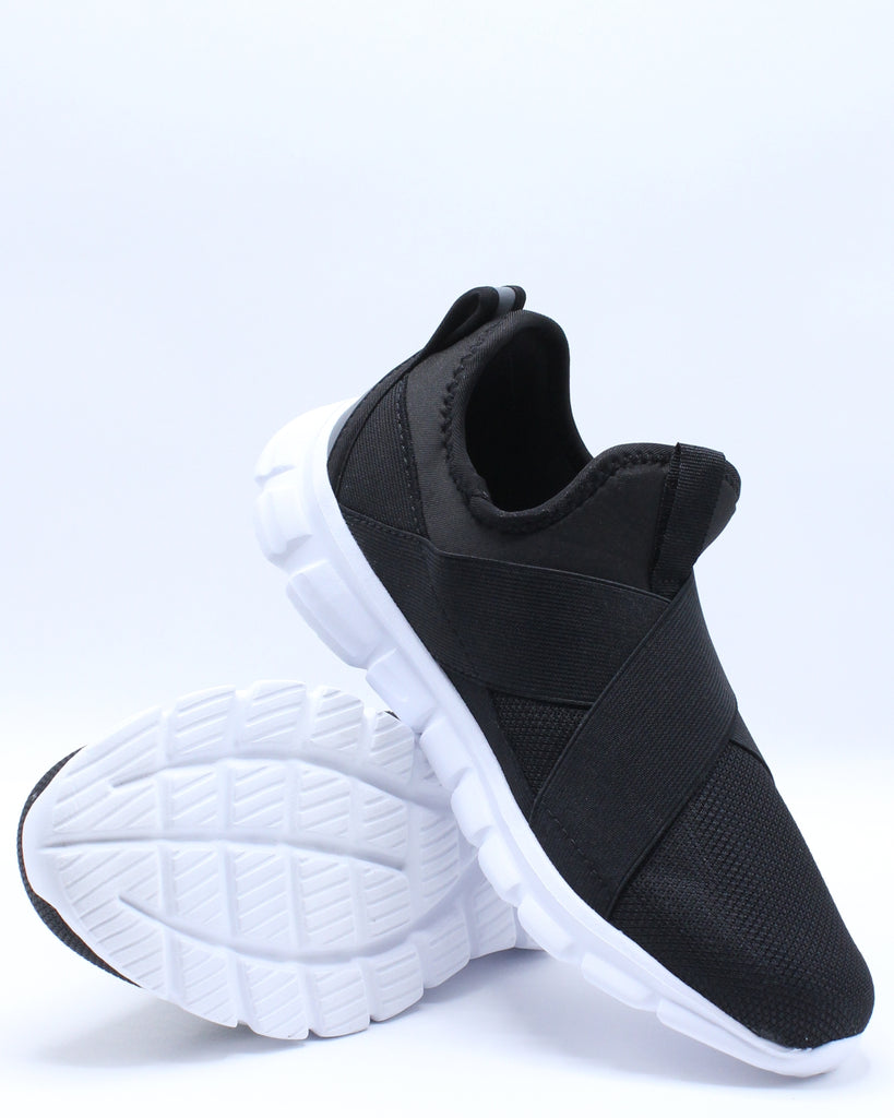 Mens Lux Cross Strap Sneaker - Black