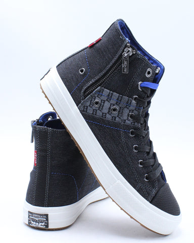LEVI'S-Men's Zip Ex Hi Mid Sneaker - Black Royal-VIM.COM