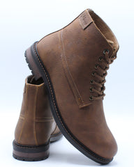Mens Round Toe Boot - Brown