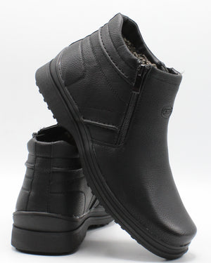 VIM Men'S Plain Toe Warm Line Boot - Black - Vim.com