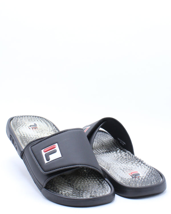 Men's Massage Slide - Black White