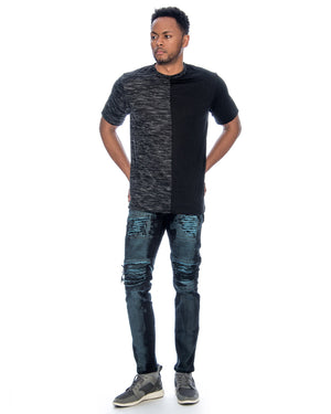 VIM Men'S Moto And Rips Patches Skinny Jeans - Blue - Vim.com