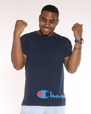 CHAMPION Wrap Around Champion Script Tee - Navy - Vim.com