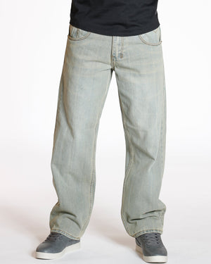 VIM Relaxed Fit Embroidery Pocket Baggy Jean - Grey - Vim.com