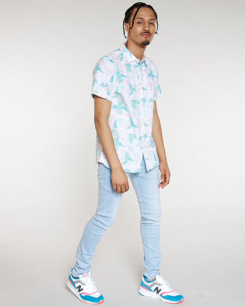 VIM Triangles & Palm Leaf Button Up Shirt - White/Teal - Vim.com