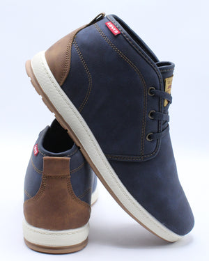 LEVI'S-Men's Ace Waxed Mid Sneaker - Navy-VIM.COM