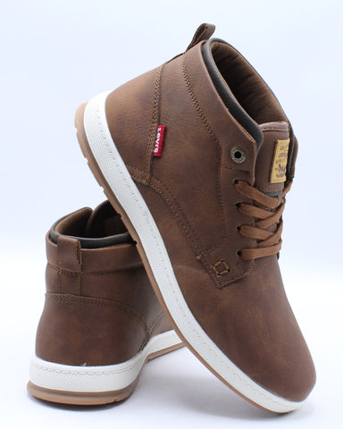 LEVI'S-Men's Goshen Wax Mid Sneaker - Tan Brown-VIM.COM