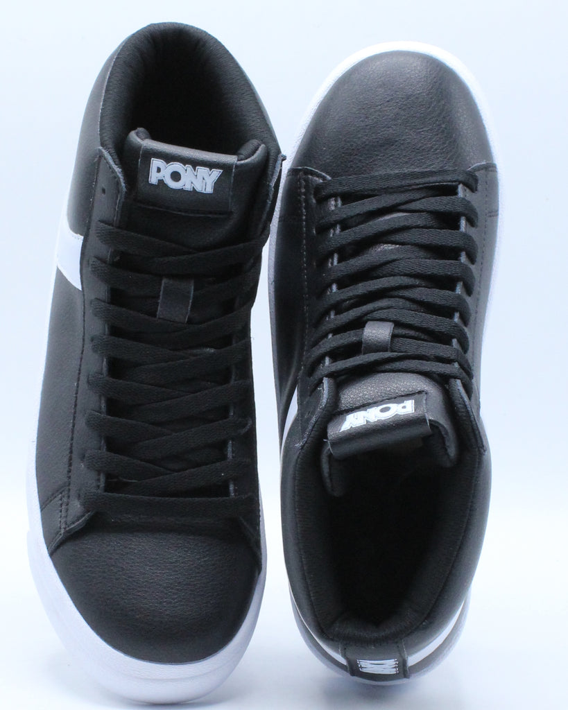 Mens Classic High Leather Sneaker - Black White