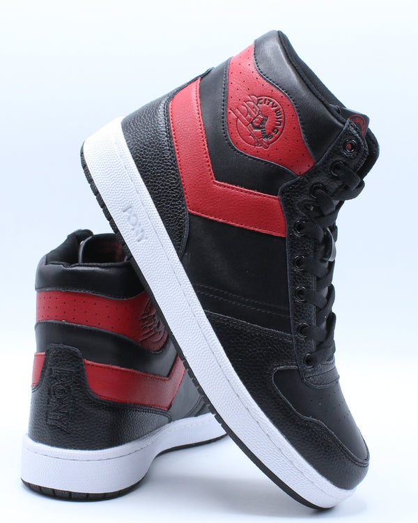 PONY-Men's City Wings High Leather Sneaker - Black Red-VIM.COM