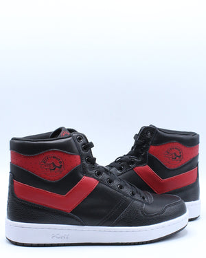 Men's City Wings High Leather Sneaker - Black Red
