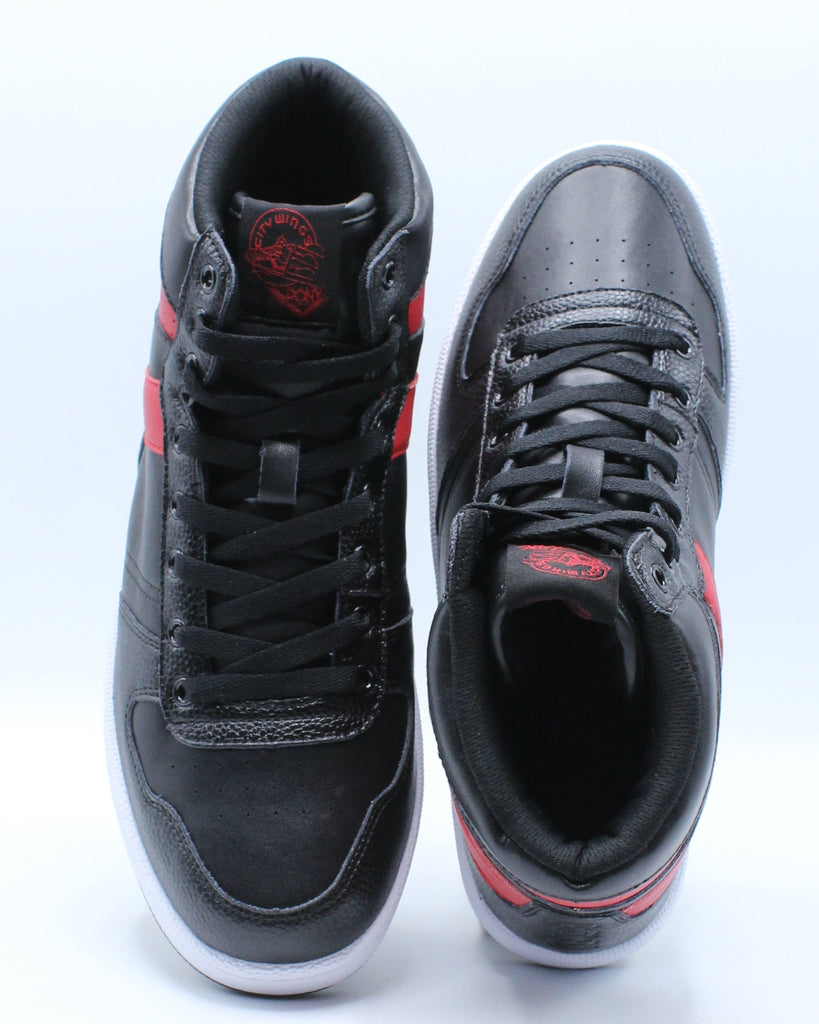 Mens City Wings High Leather Sneaker - Black Red