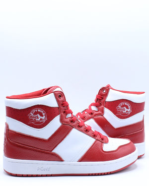 Men's City Wings High Leather Sneaker - White Red