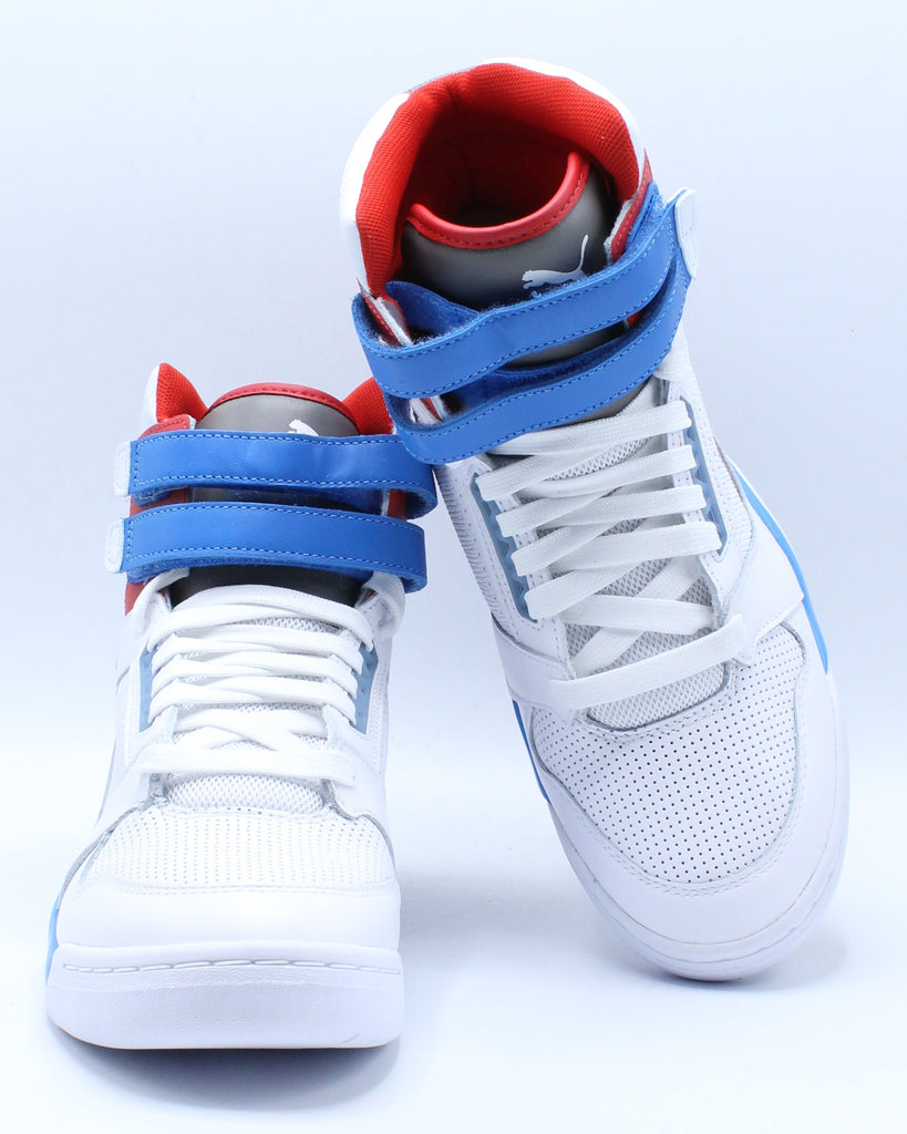 Mens Palace Guard Mid Sneaker - White Blue