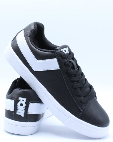 PONY-Men's Classic Low Leather Sneaker - Black-VIM.COM