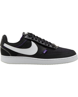 NIKE-Men's Nike Court Vision Low Premium Sneaker - Black White-VIM.COM