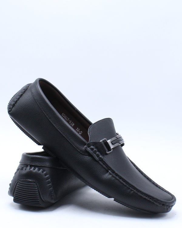 Men's Driving Buckle Shoe - Black-VIM.COM