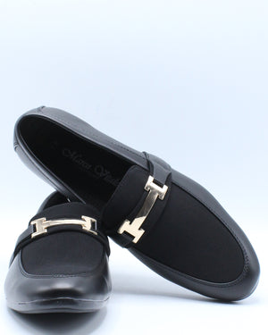Men's Driving Moc Buckle Mesh Shoe - Black Gold