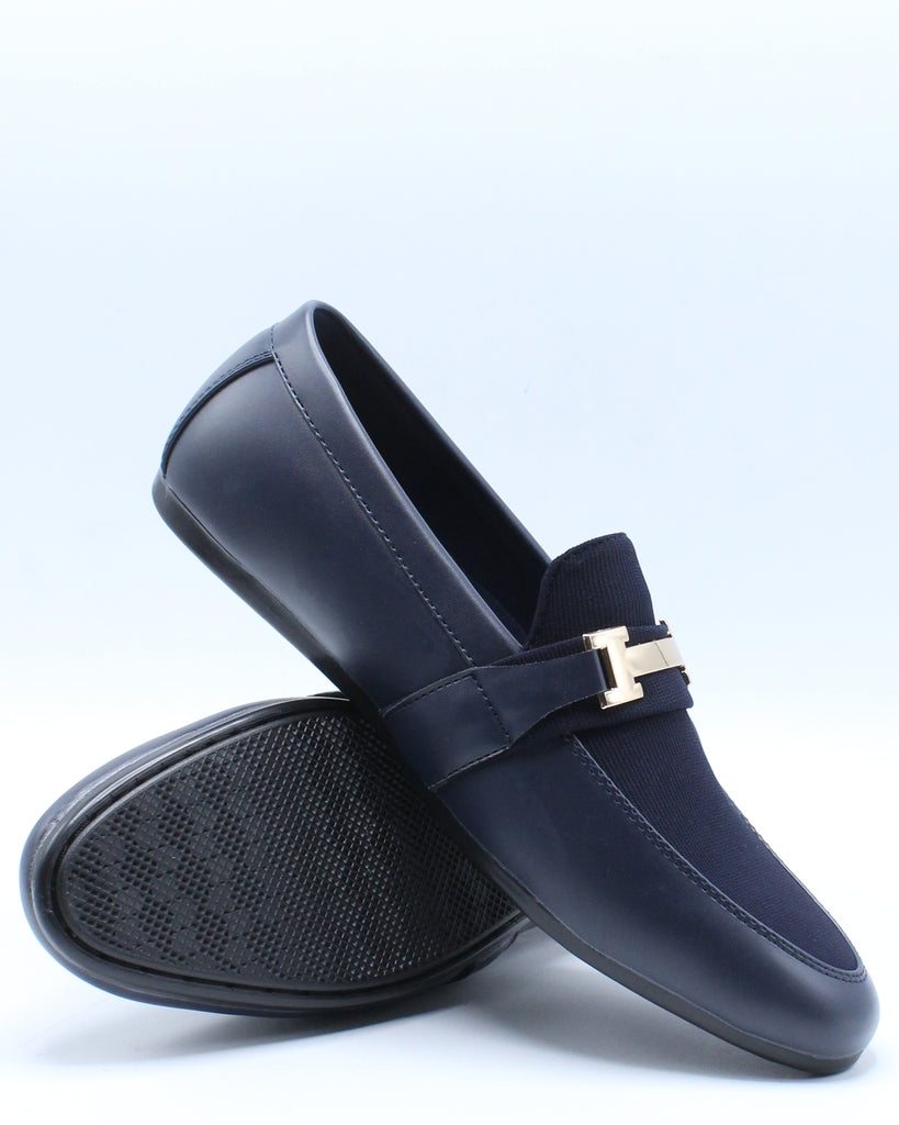 Mens Driving Moc Buckle Mesh Shoe - Navy