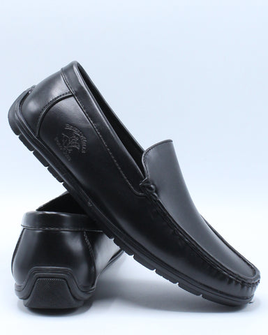 Men's Driving Moc Shoe - Black-VIM.COM