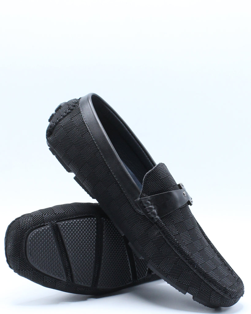 Mens Driving Buckle Shoe - Black