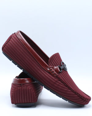 Men's Ornament Driving Shoe - Burgundy-VIM.COM