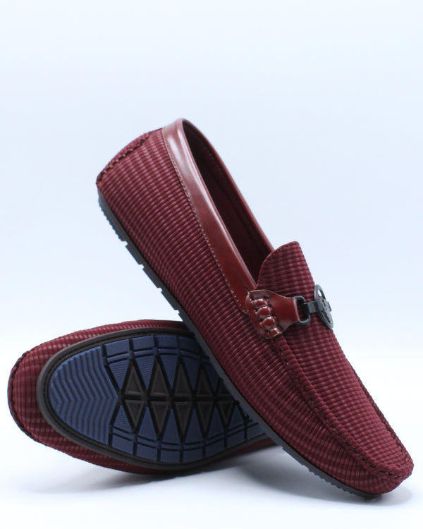 Men's Ornament Driving Shoe - Burgundy