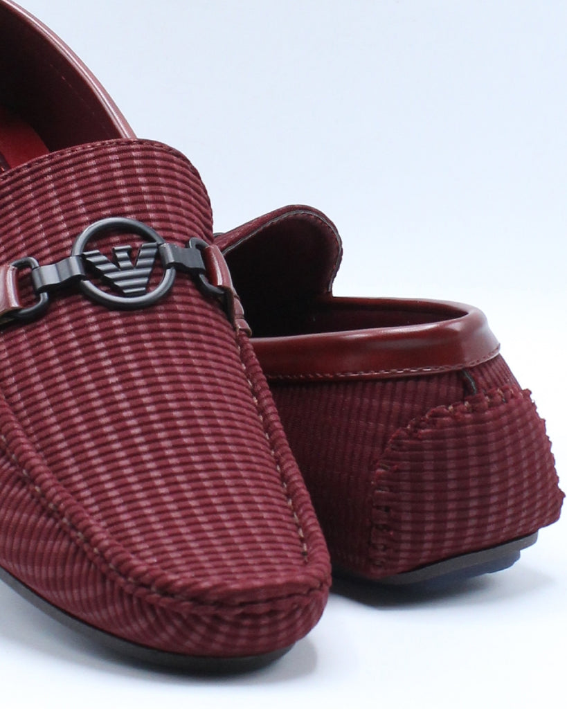 Mens Ornament Driving Shoe - Burgundy