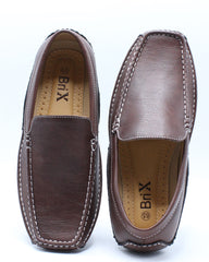 Mens Driving Moc Slip On Shoe - Brown
