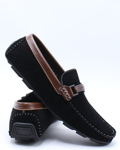 Men's Driving Slip On Shoe - Black-VIM.COM