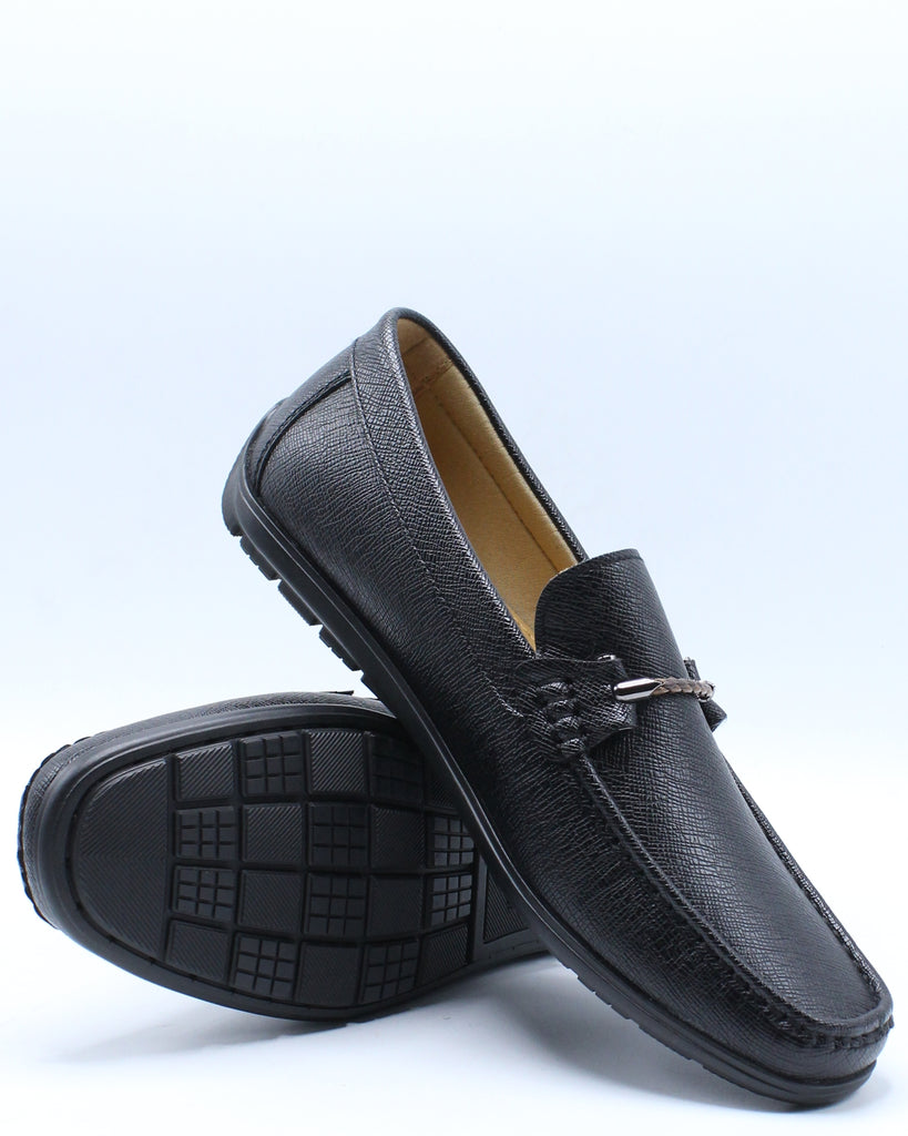 Mens Driving Moc Orn Shoe - Black